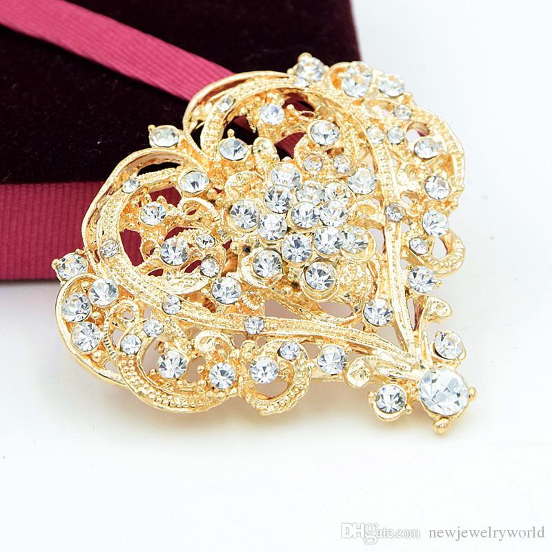 Moda Vintage Rodio Plateado Impresionante Cristales Claros Gran Corazón Flor Broche Mujeres Boda Ramo de novia Pins Venta Caliente de Calidad superior