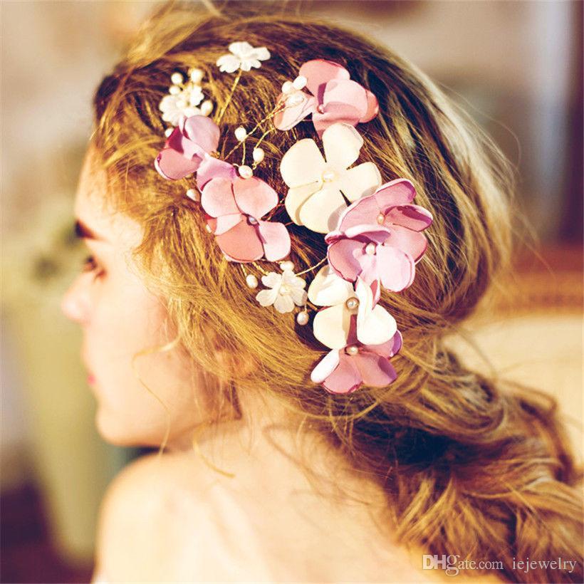 2019 Wedding Bridal Silk Flower Hair Accessories Headpiece Jewelry
