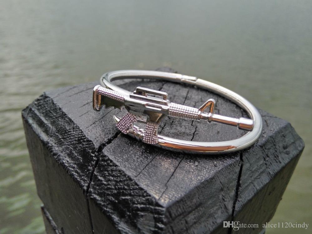 Réel 18kgp Plaqué 3D AK47 Conception Bracelet Bracelet, Créateurs uniques Nail gun Bracelet pour couples femmes hommes unisexe