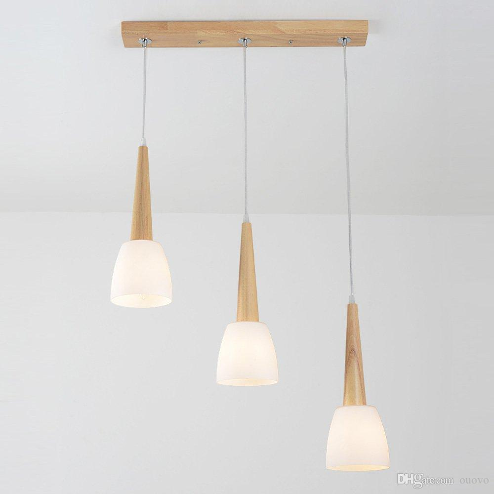Japanese solid wood dining room chandeliers glass horn restaurant pendant lamp simple design bar counter pendant lighting fixtures pull down pendant light