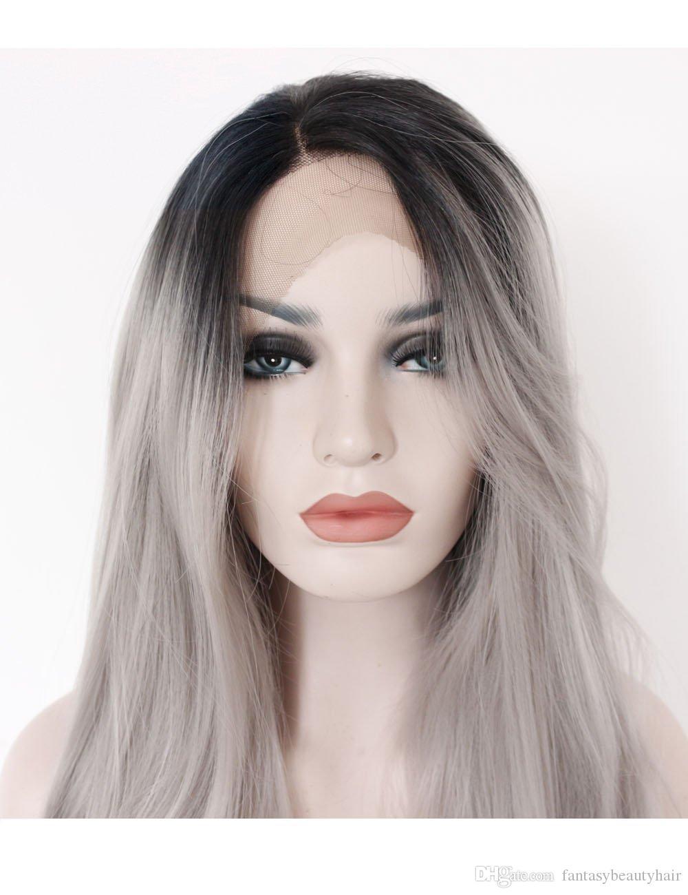 Ombre gris 2 tonos peluca sintética del frente del cordón Raíces oscuras largas naturales rectos grises pelucas de pelo de reemplazo para mujer resistente al calor Fibe