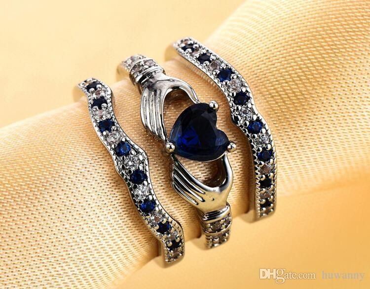 Rings Jewerly Silver Ring Hot Sale Crystal Finger Rings For Women Girl Party Fashion Jewelry Wholesale 0451WH
