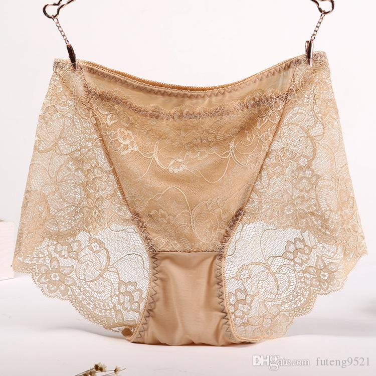 XL size Pure Color Sexy Panties Large Size High Waist Lace Hollow Briefs Women Underwear XL Size Undies X-Large Hiphuggers for Female