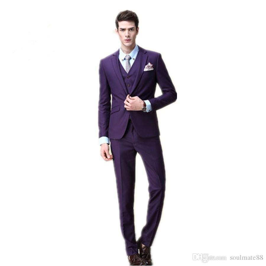 2017 New Vogue Purple Groom Tuxedos Groomsmen One Button Slim Fit ...