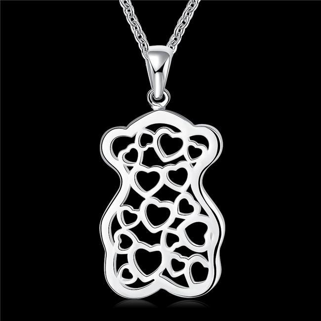 heißen Verkauf Bären Pfirsichherzfrauen Sterling-Silber Halskette, 925 silberne Anhänger Halskette mit Ketten GN770