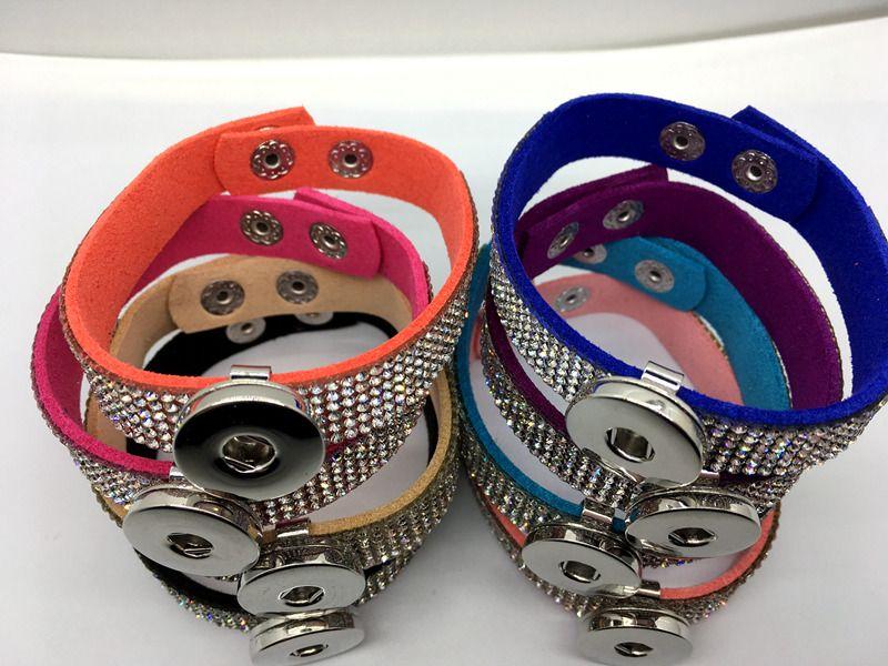 Großhandel Ingwer Snap Armband / Mix Style Frauen Fashion Strass Snap Armband Schmuck Fit 18MM Snap Chunk Charm Button