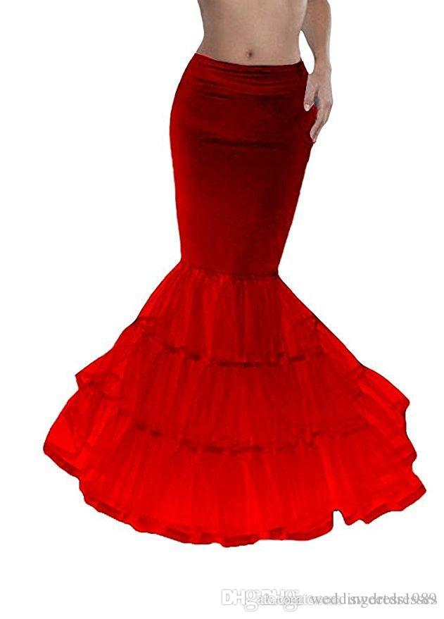 Cheap Black Red Mermaid Bridal Petticoat Crinoline Tiers Wedding Slip UnderSkirt Fishtail Petticoat for Special Occasion Dress In Stock