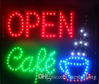 2017 hot sale Animated LED NEON Motion Flash Open Sign CAFE OPEN For Business 48CM X48CM