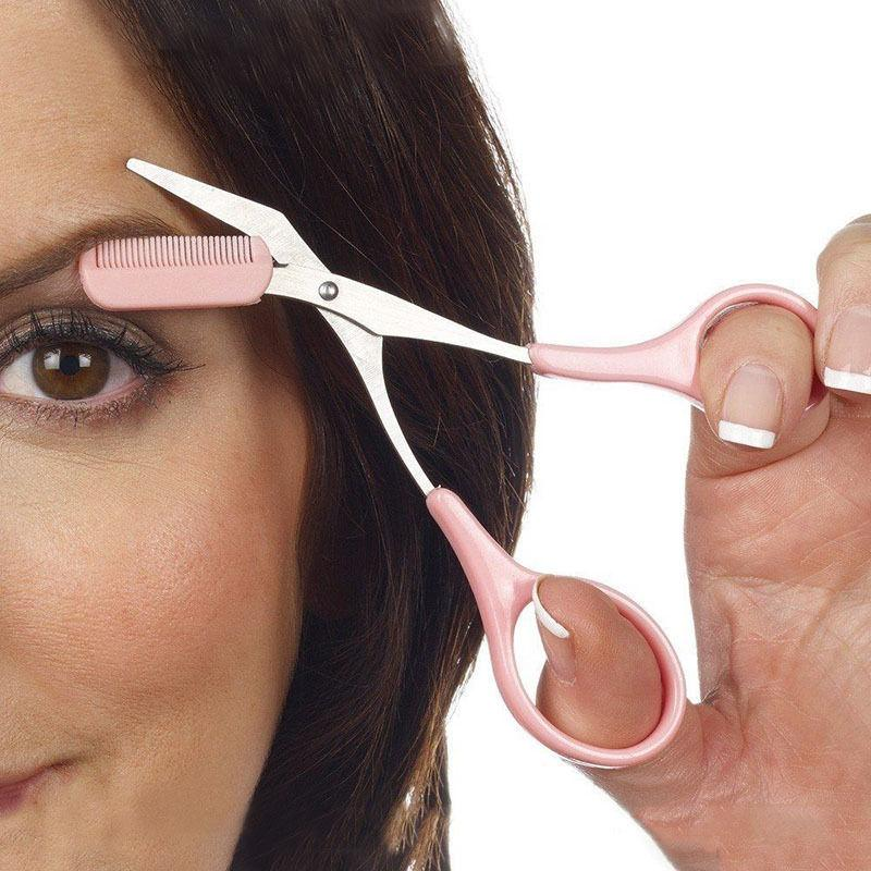 Pink Eyebrow Trimmer Scissors With Comb Lady Woman Men Hair Removal
