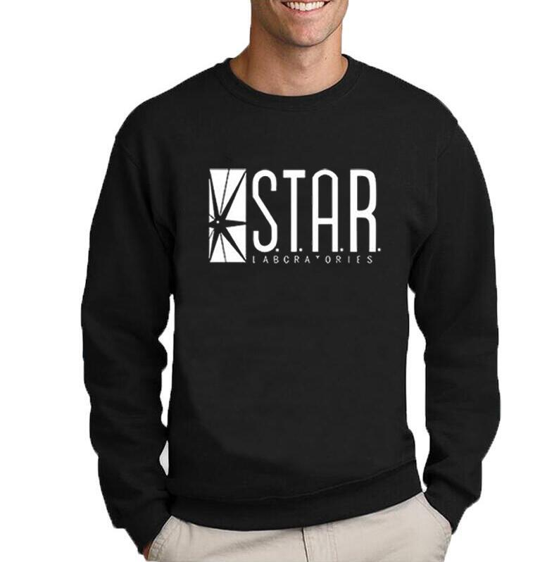 Wholesale-The Flash Star Lab letters printing students sweatshirt men autumn round neck hoodies casual pullovers brand clothing