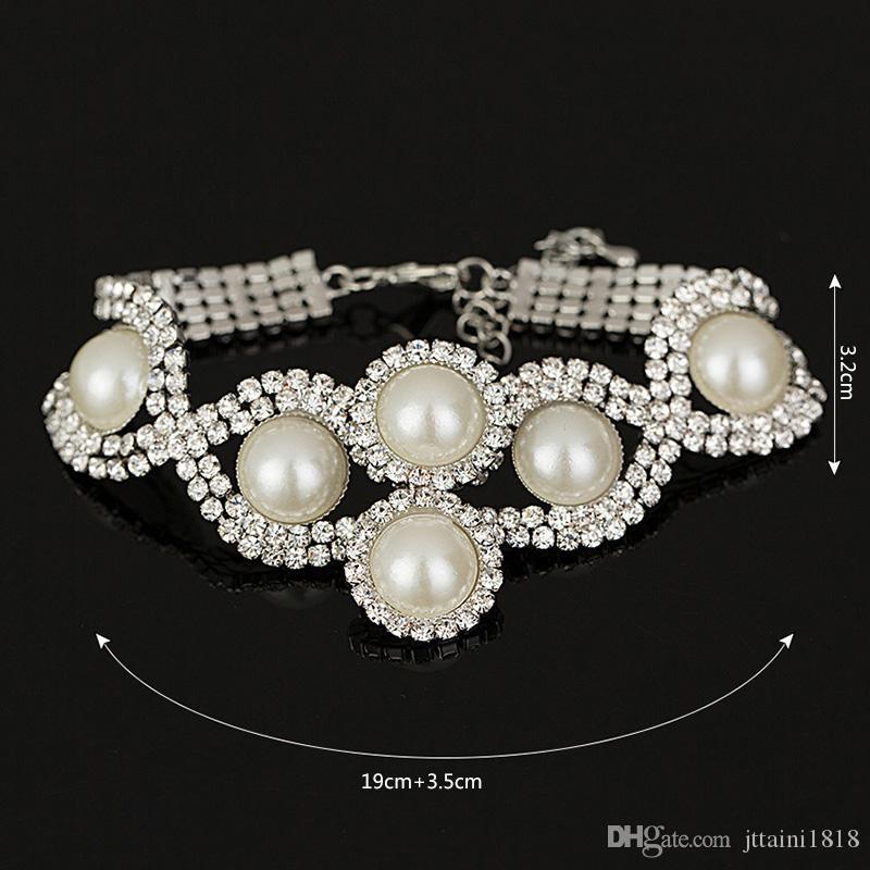 Fashion New Brand Design lussuoso nastro di cristallo di fascino perla braccialetto cubico le donne gioielli ragazza regalo