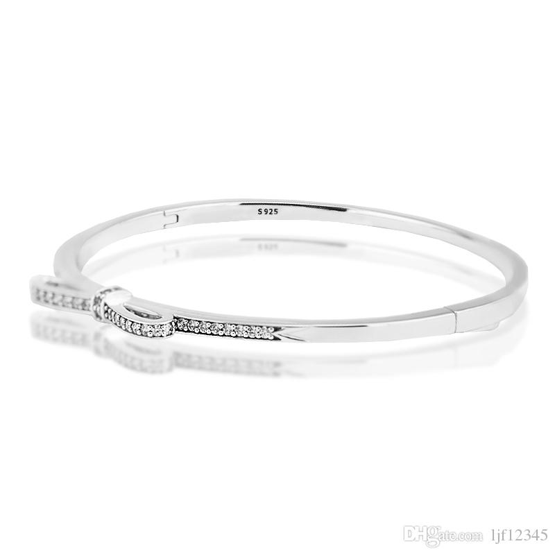 Pandulaso Sparkling Bow Clear CZ Bangle Woman Bracelets sterling-silver-Jewelry For Women jewelry making gift for Lover
