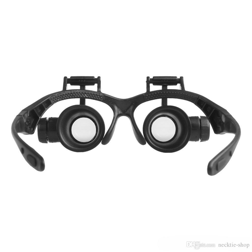 Hot 10X 15X 20X 25X ampliação de Vidro Duplo LED Luzes Eye Lens Lupa Lupa Lidar Com Relógio Ferramentas de Reparo