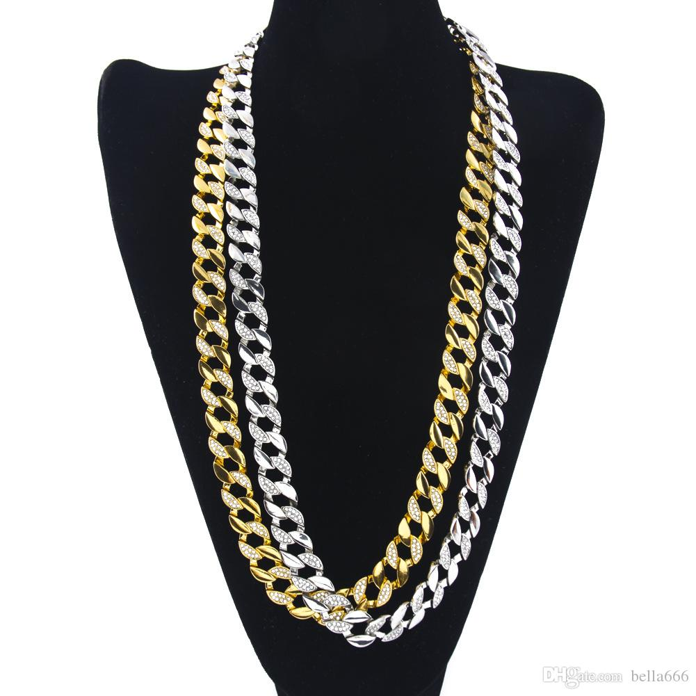Men Women Gold Silver Plated Cuban Miami Chain Hip Hop Half Rhineston Crystal Link Chains Fashion Jewelry