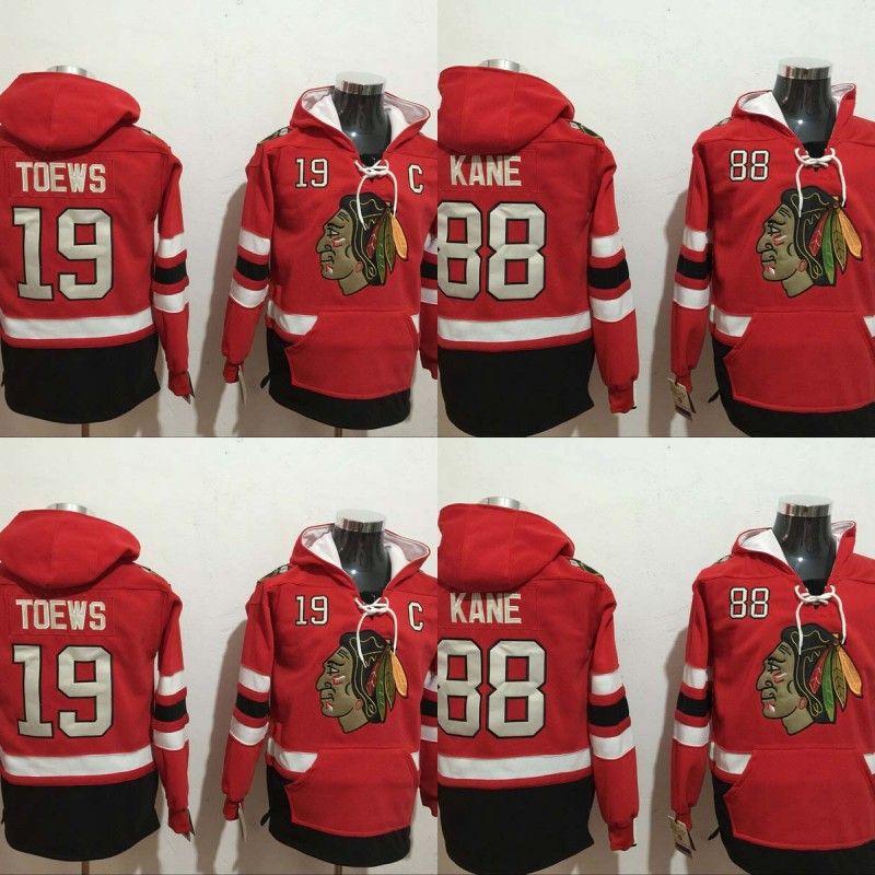 outlet store 5f5a1 c170b Mens Chicago Blackhawks Hoodies Jersey 19 Jonathan Toews 88 Patrick Kane  100% Stitched Embroidery Logos Sweatshirts Hockey Jerseys Cheap Red