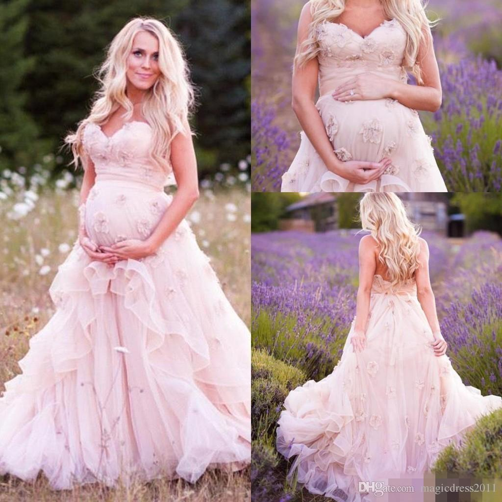 Romantic Blush Country Pregnant Wedding Dresses Sweetheart Hand Made Flower Tired Backless Lace-up Tulle Bridal Gowns Sweep Train
