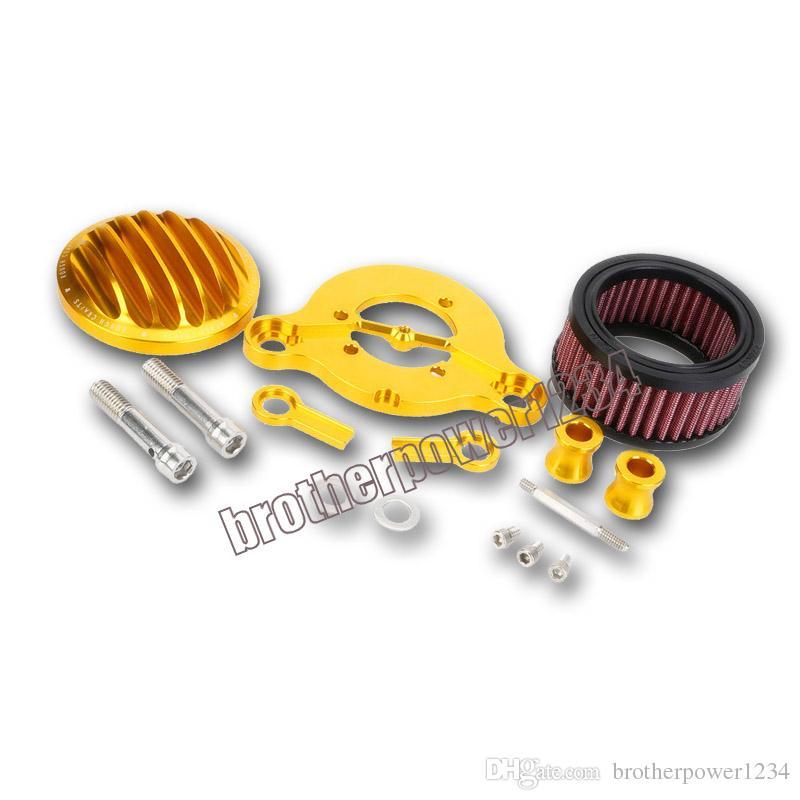 Yeni Siyah / Altın Hava Temizleyici Emme Filtresi Sistemi Kiti Harley Sportster 48 883 1200