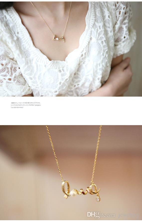 Kristall Herz Liebe Gold Anhänger Halsketten Frauen Modeschmuck Geschenk Erklärung Neckalces für Hochzeit Verlobungsfeier