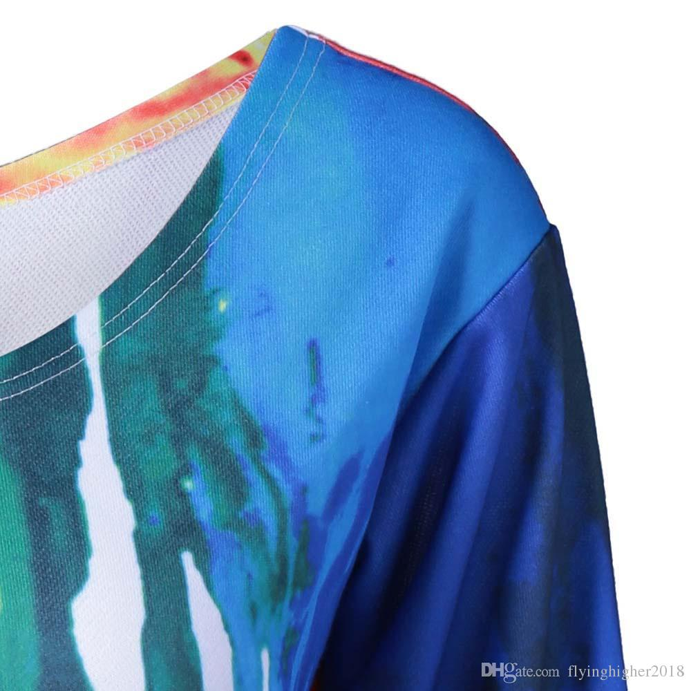 여성 가을 가을 긴 소매 세련된 여성 페인트 드립 기울이기 칼라 점퍼 운동복 캐주얼 풀오버 블라우스 셔츠 플러스 사이즈 탑