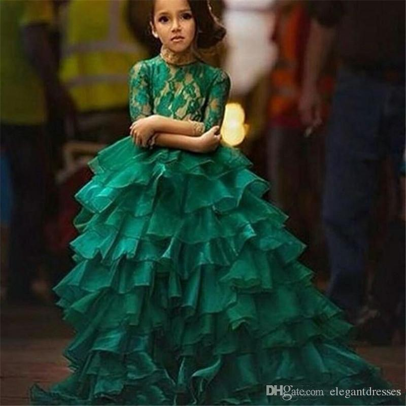 2017 Emerald Green Junior Girl's Pageant Dresses For Teens Princess Flower Girl Dresses Birthday Party Dress Ball Gown Organza Long Sleeve