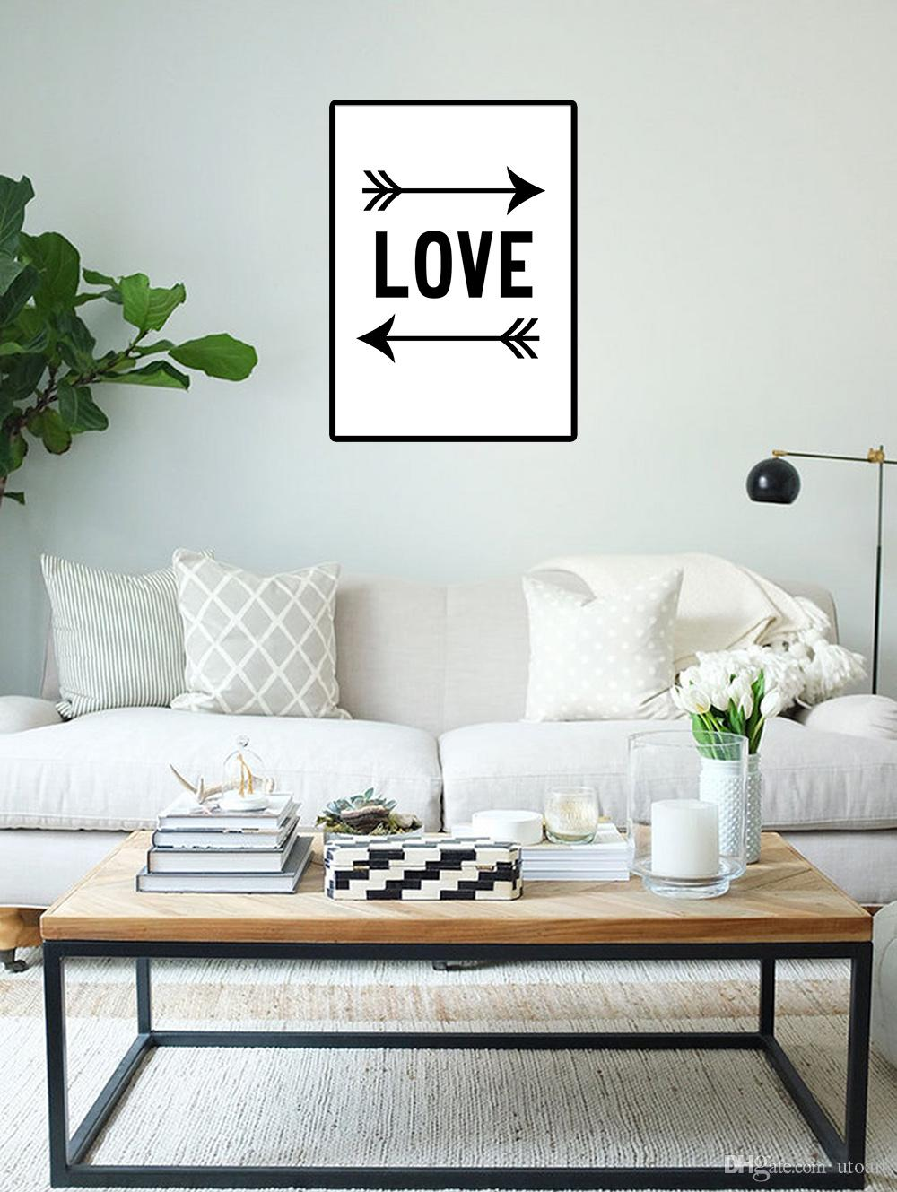 Wholesale Painting Modern Europe Black and White Canvas Painting of Love Arrow Digital Decorative Picture for Living Room