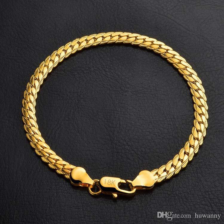 Браслеты 5 мм золото заполнить звено цепи браслет для мужчин подарок ювелирные изделия Оптовая Бесплатная доставка 0516WH