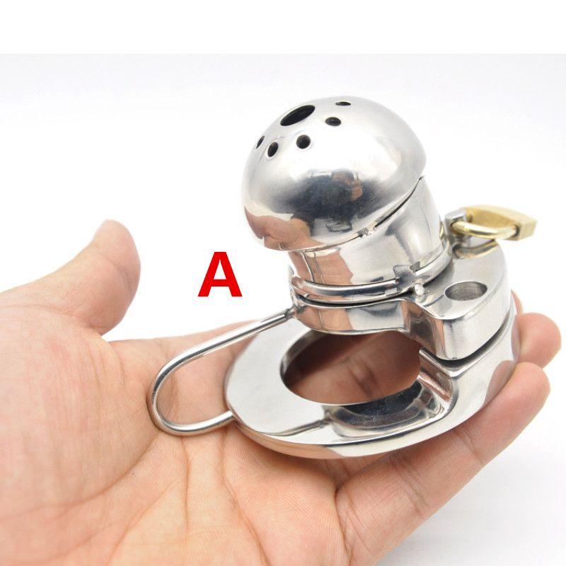 Tubos de jaula de castidad masculina Dispositivos de jaula de castidad de acero inoxidable 316L con diseño uretral de silicona Sonda pene Plug Horse Eye G214
