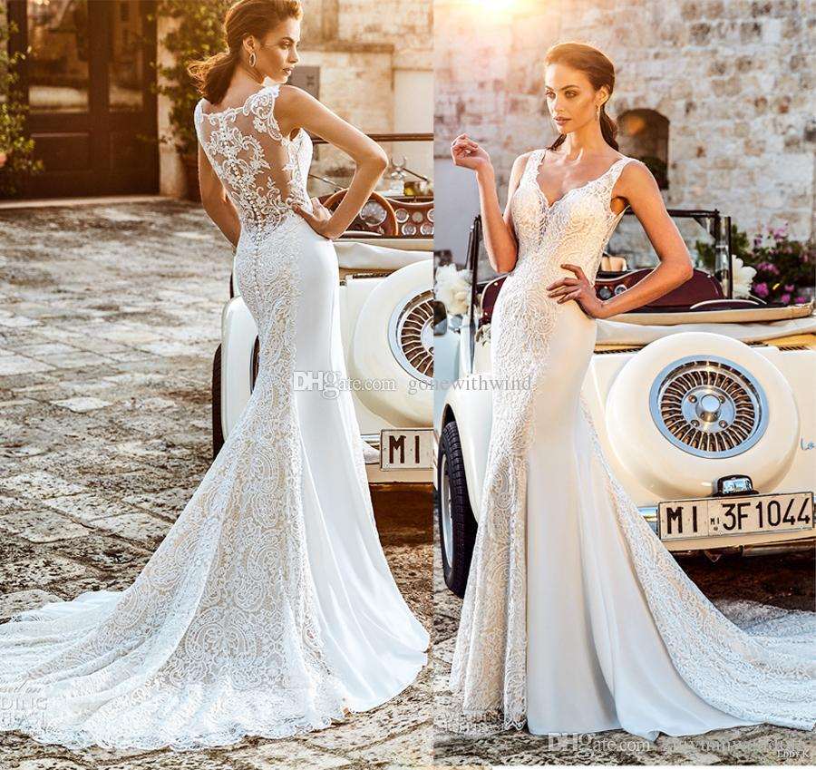 Elegant Sheath Wedding Dresses 2018 Eddy K Bridal Sleeveless Lace ...