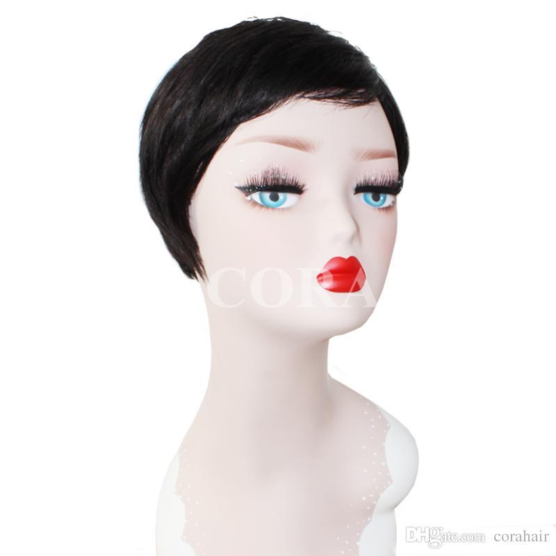 Pixie Cut Short Human Hair Wig Natural Black Rihanna Cut Wigs For Black Women African American Celebrity Wigs 2015 New Hot Sale