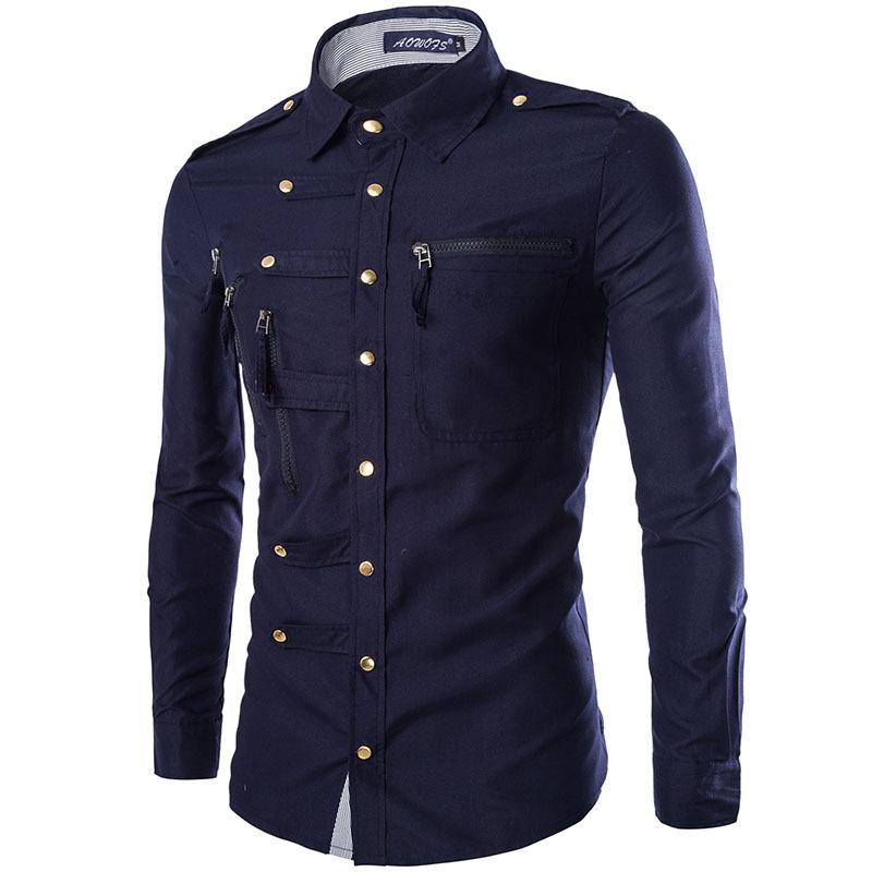 ad7c68aa5e Compre Al Por Mayor Nueva Camisa Para Hombre 2016 Diseño De Moda Para Hombre  Slim Manga Larga Camisas De Vestir Multi Zipper Casual Marca Con Estilo  Camisa ...