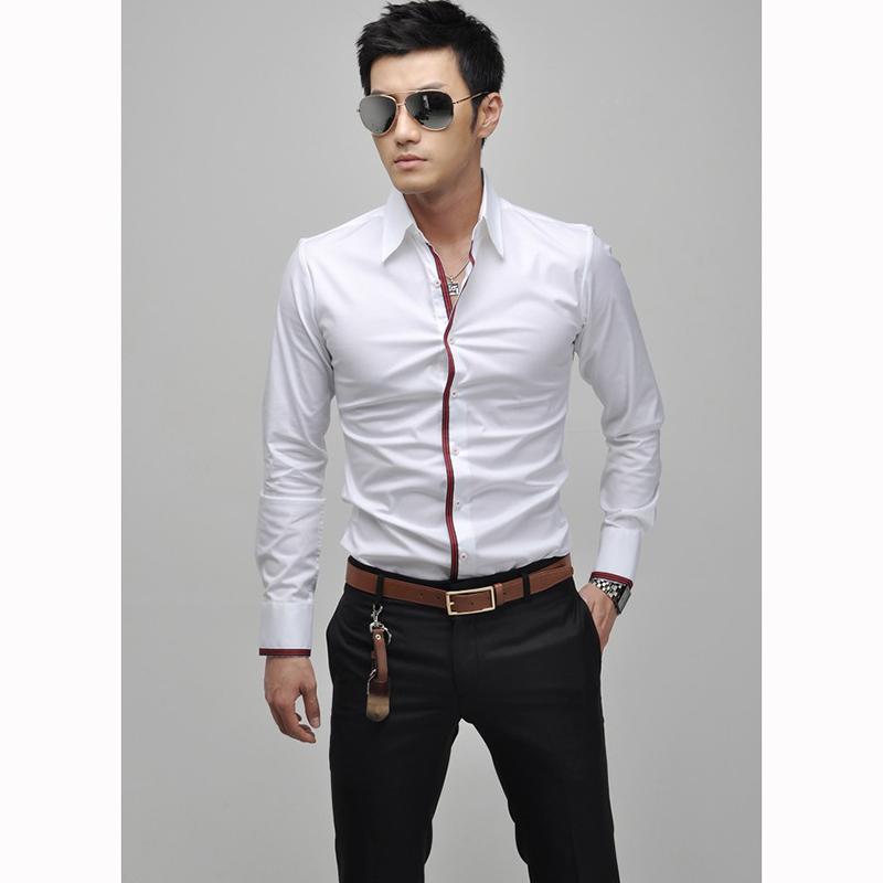 e63dfd71b Compre Al Por Mayor Moda Para Hombre Camisas Formales De Negocios Casual  Slim Fit Manga Larga Camisas De Vestir Tops Ropa Masculina Tamaño M XXL A  $37.73 ...