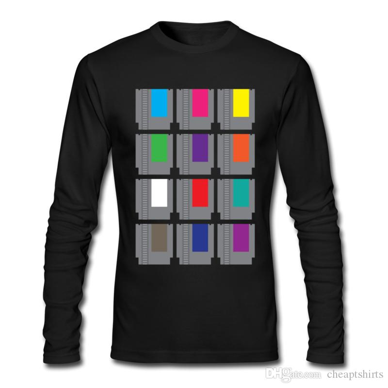 Fashionable men's T-shirt modern film printed sport shirts for man plain cotton long sleeve pullover wholesale 8-BIT Cartridges