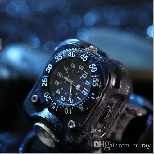 Outdoor LED light hand her wrist type strong light flashlight wrist watch silica gel lamp night run special self-defense