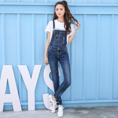 Womens Jumpsuits Blue Denim Overalls Casual Skinny Girls Pants Jeans Detachable Rompers Elastic Jumpsuits & Rompers D124