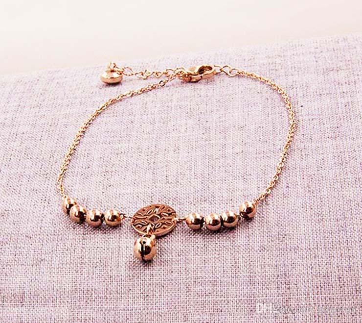 CHAUD petite cloche bracelet de cheville Bracelet Or Rose Titane Acier Femmes Fille Amant Pieds Nue Mode Bracelet Chaîne Bijoux