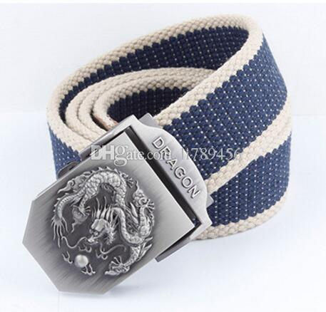 100-135 cm long paragraph alloy automatic canvas belt buckle Men's woven thickening belt Outdoor A4