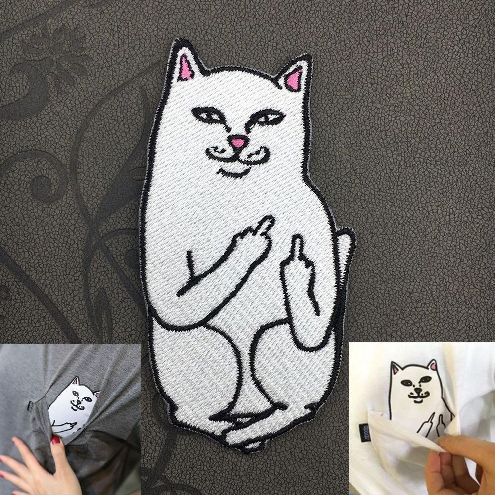 Low Price Embroidery Funny Middle Finger Cat Sew Iron On Patch Badge Fabric Applique DIY Made In China Factory