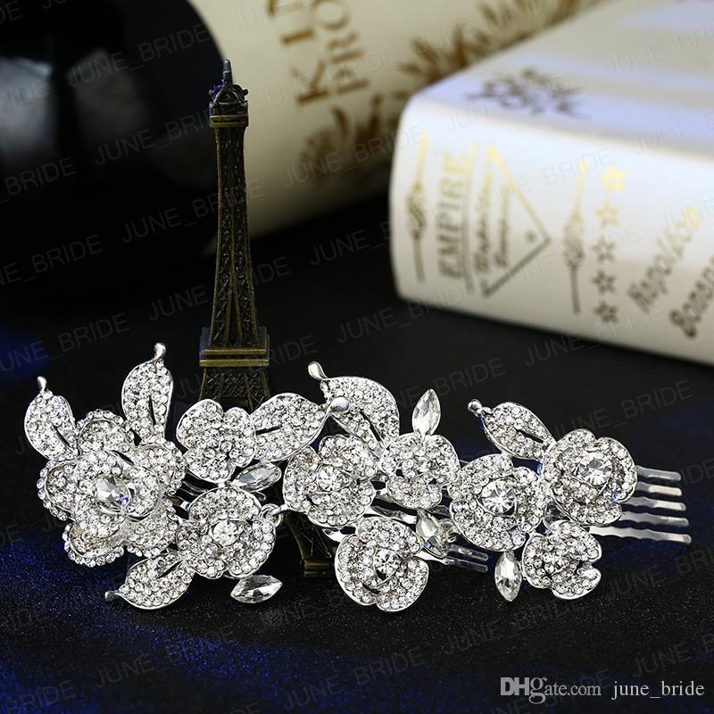 Designer Bridal Hair Comb New Arrival Shinny Fairy Crystal Rhinestone Floral Wedding Prom Evening Party Headpieces Jewelry Accessory Tiara