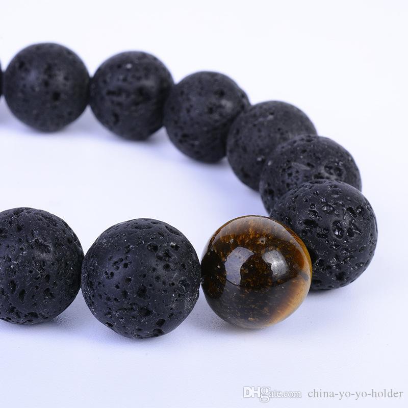 8mm Pedras Reais Lava Vulcânica Mala Meditação Pulseira Cura Pedras Genuínas Naturais Mulheres Homens Jóias Pulseiras de Presente de Yoga B142S