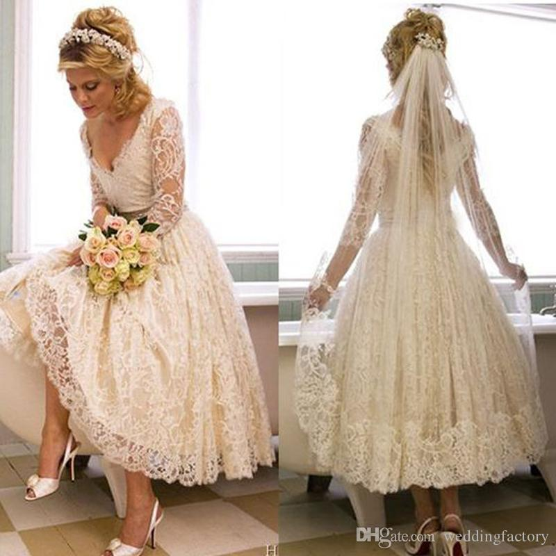 Vintage Lace 2017 1950s V Neck Wedding Dress Tea Length Country Style Short Bridal Gowns With Illusion 3 4 Sleeves Custom Made Cheap