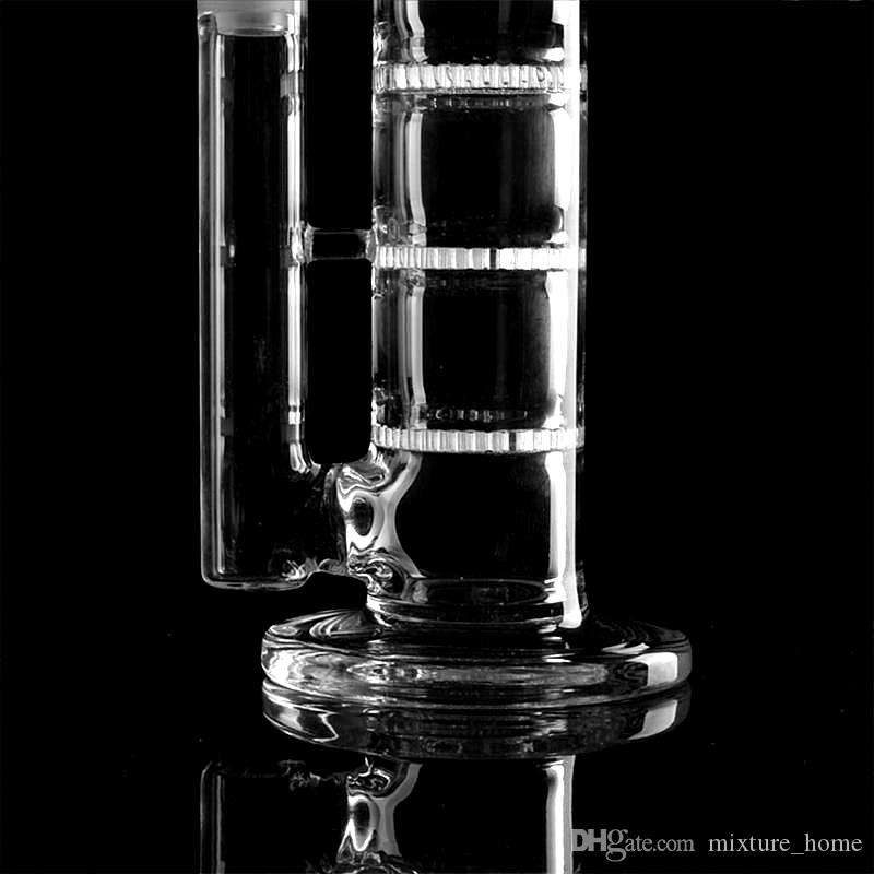 """Brand Quality 17.5"""" inches Glass Bong water pipe Straight pure glass TreePerc glass bongs with three Honeycomb Tire Percolator"""