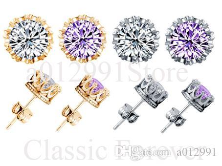 2017 HotKorean Factory Direct Gold-plated Silver Earring Luxury Korean Wedding Crown Earrings Zircon Earring Women Girl men Earrings