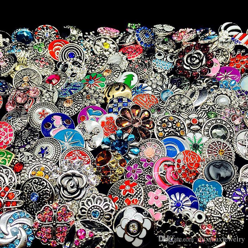 Toptan 100 adet / grup toplu mix stilleri Zencefil Moda 18mm metal rhinestone diy snaps düğme Yapış Takı Yepyeni
