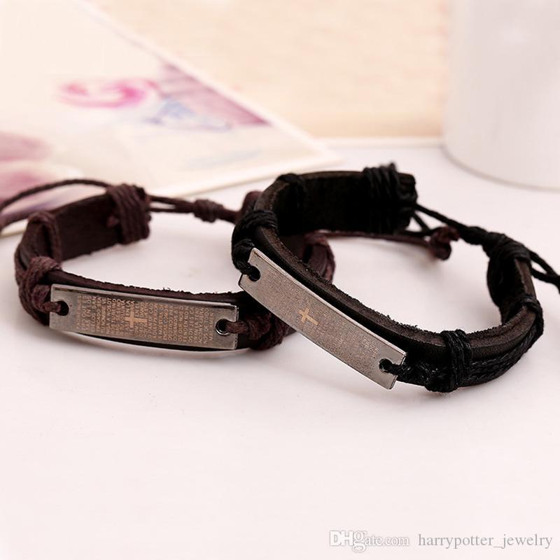 Bracelets en cuir de vachette croix Christianisme Bible tag charme bracelet manchettes unisexe bandes réglables à la main bijoux punk Drop Ship 160613