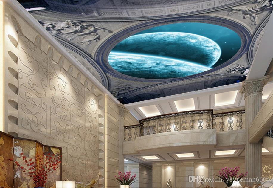 عرف 3d الفاخرة خلفية السقوف حلم السماء القمر 3d محبوكة الجداريات السقف خلفية الأوروبي