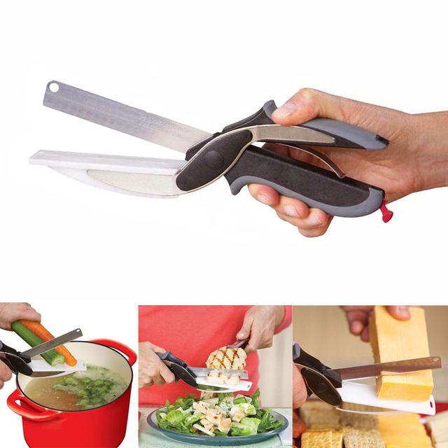 Fornecimento de partido Nova Magia NEW inteligente inteligente 2 em 1 utilitário cortador knifeboard cortador de aço inoxidável Carne de Batata queijo vegetais multi-função