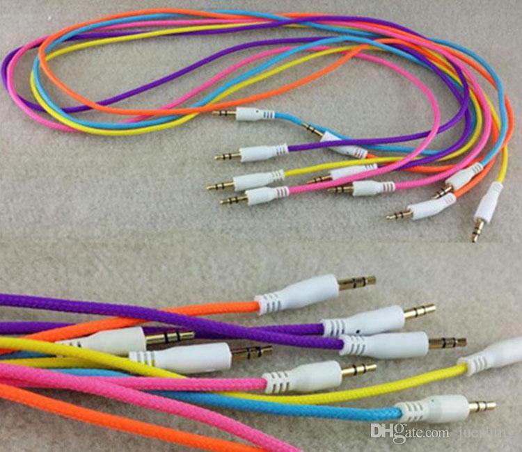 100 adet / grup 3.5mm Örgülü Dokuma Erkek MM Ses AUX Kablosu Stereo Yardımcı kordon Iphone 4 Araba iphone 5 5 s Telefon MP3 Için