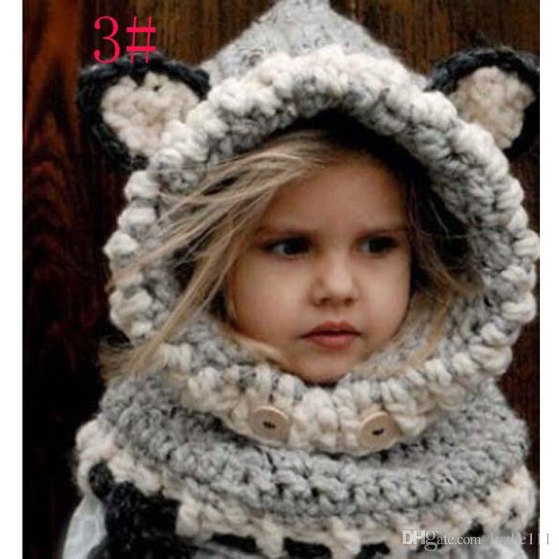 Winter Beanie Baby Infant Animal Warm Fox Hat Hooded Scarf Earflap Knit Cap Wool 8 Colour