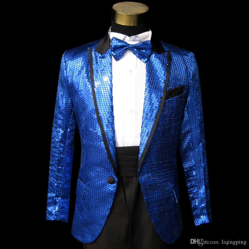 Blue Gangnam style bird tertiary stage performance Suit Horse riding dance singer Suit & Blazer plus size s-3xl