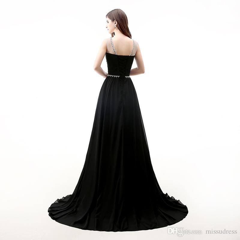 Blanc noir en mousseline de soie pas cher robes de bal Sweetheart Sheer Neck Sexy Backless robes de soirée formelle Drapé Rose soirée robe de bal 2017